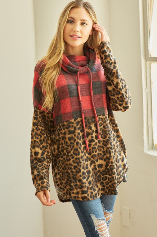 Nancy Plaid Leopard Hooded Pullover - Red