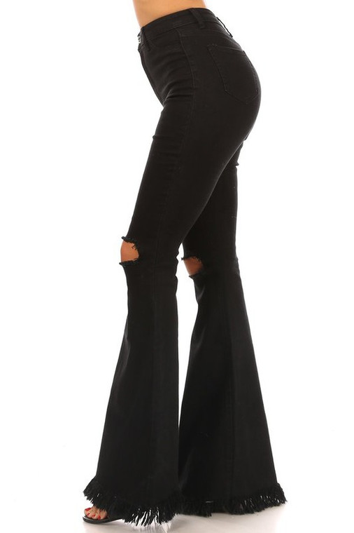 Rochelle High Waist Ripped Knee Flare Jeans - Black