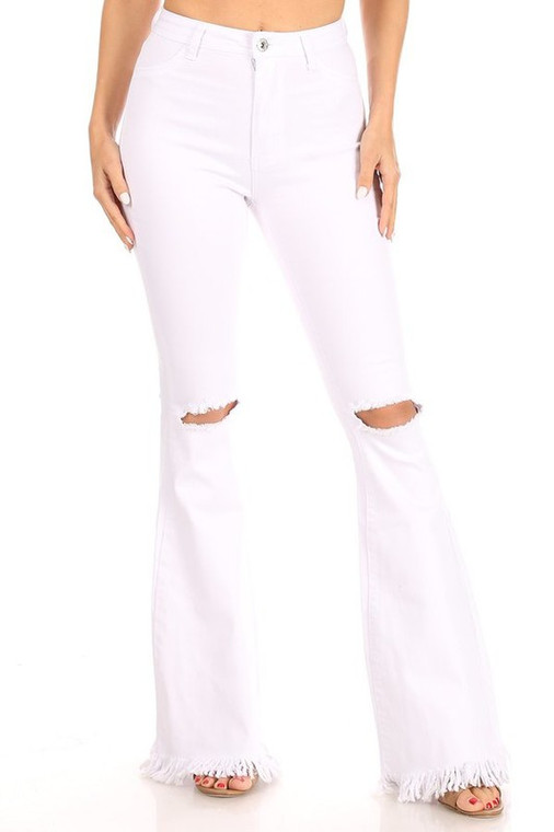 Rochelle High Waist Ripped Knee Flare Jeans - White