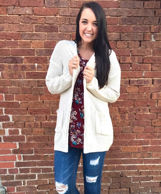In My Place Knit Cardigan - OATMEAL