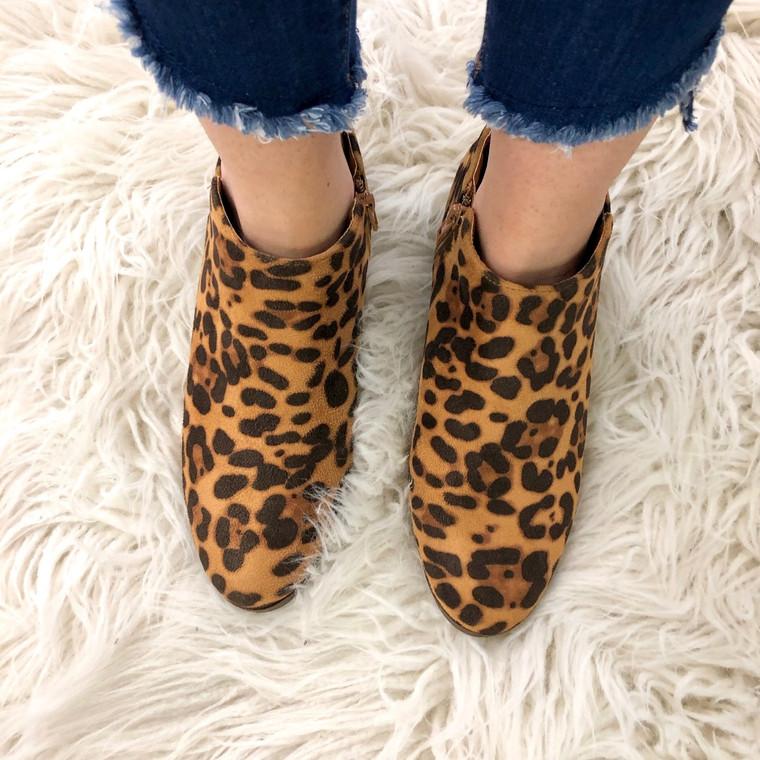 Bradee Leopard Suede Booties