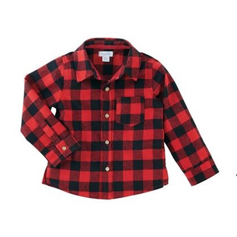 Mud Pie Alpine Village Button Down Shirt - RED