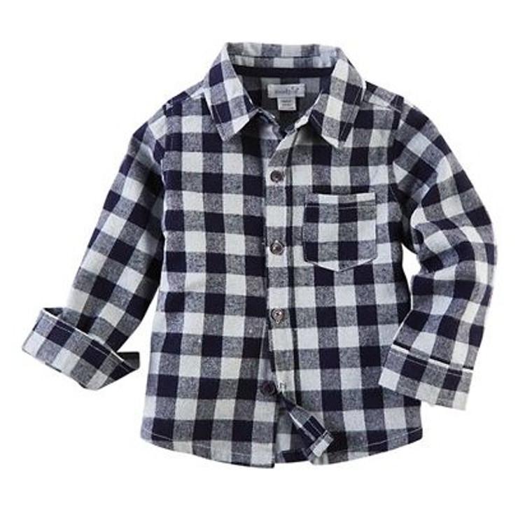 Mud Pie Flannel Button Down Shirt - BLUE