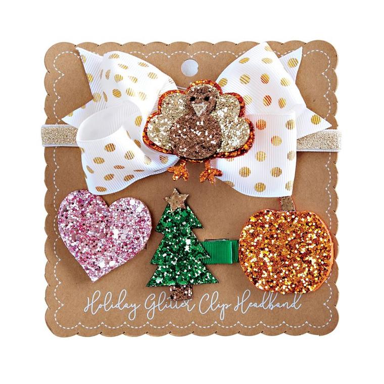 Mud Pie Interchangeable Holiday Glitter Headband Set