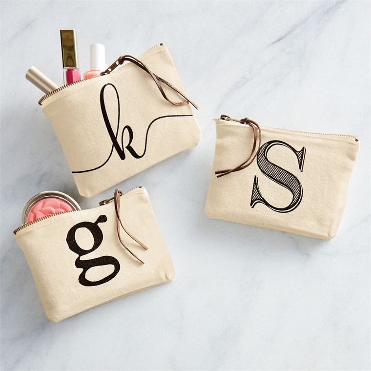 Mud Pie Initial Canvas Cosmetic Pouch