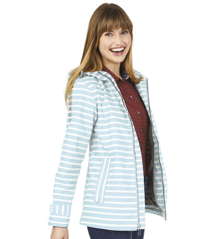 New England Printed Rain Jacket - AQUA STRIPE
