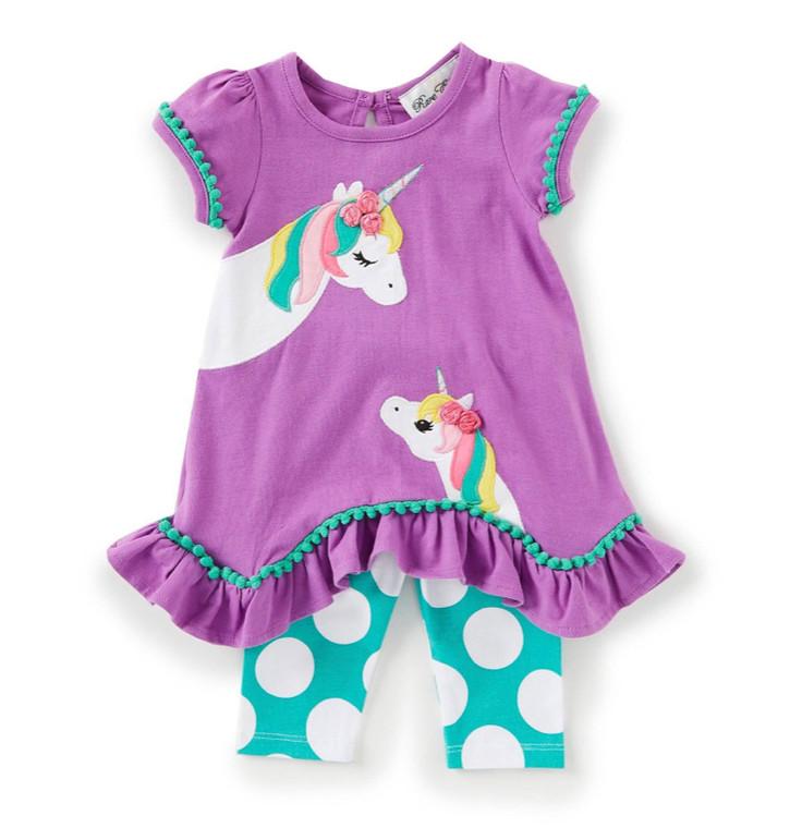 Purple Unicorn Dot Legging Set
