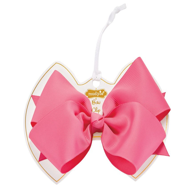 Mud Pie Hot Pink Bow Clip