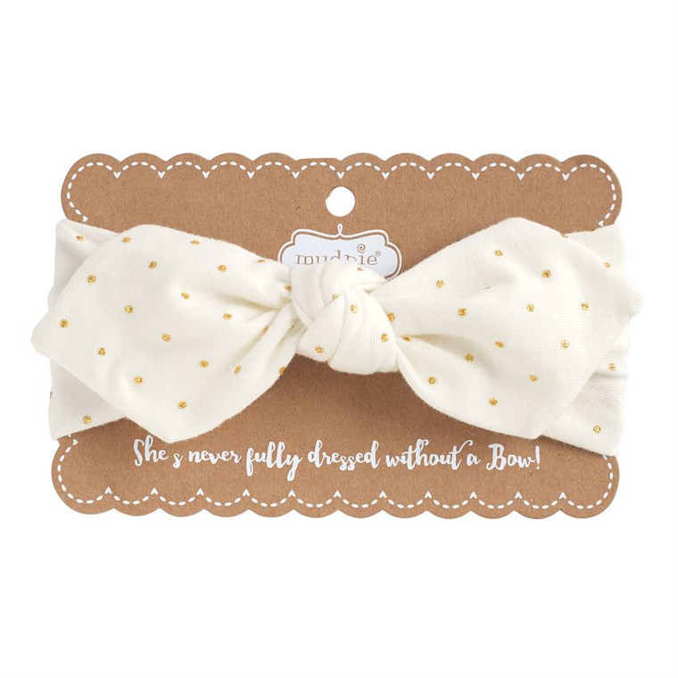 Mud Pie Gold Dot Jersey Knot Headband - IVORY