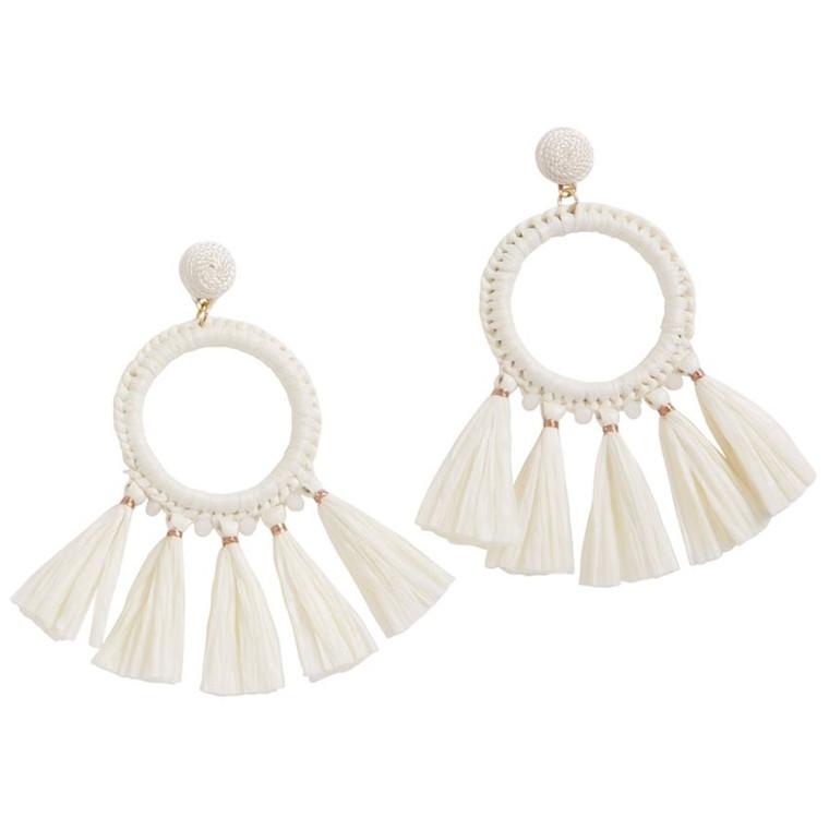 Mud Pie Raffia Tassel Hoop Earrings - WHITE