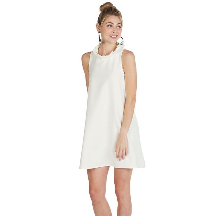 Mud Pie Juliette Ruffle Neck Dress - WHITE