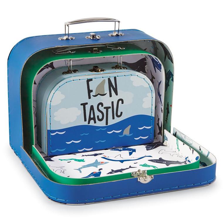 Mud Pie Printed Shark Suitcase