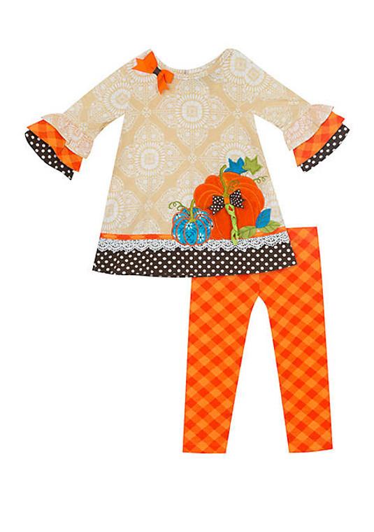 Oatmeal Plaid Pumpkin Legging Set