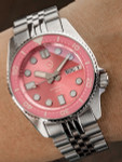 Islander 38mm Automatic Pink Dive Watch with Solid-Link Bracelet, AR Double Dome Sapphire Crystal, and Luminous Sapphire Bezel Insert #ISL-52