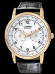 Citizen Goldtone 42mm Eco-Drive Watch with Day-Date Sub-Dials #AO9003-16A
