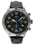 Aristo Aviator Style Quartz Chronograph Watch with Carbon Fiber Dial #7H106BN