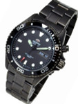 Orient Black Ray Raven 21-Jewel Automatic Dive Watch with Black PVD Bracelet  #EM65007B