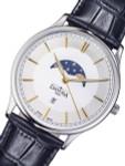 Davosa Flatline Moon Phase Quartz Watch with White Dial #16249635