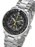 Seiko SNA411P1 Quartz Flightmaster Chronograph Watch with Alarm Function