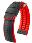 Hirsch ROBBY Sailcloth Effect Performance Watch Strap, Black and Red #09120940-50