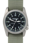 Bertucci A-4T Vintage 44 Titanium Watch with Olive Nylon Strap #13400