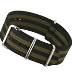 NATO-Style Black and Olive Green Striped Nylon Strap with Stainless Steel Buckles  #NATO-8A-SS