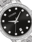 Citizen Ladies Dress Watch with Swarovski Crystals, Radiant Black Dial #EU6030-56E