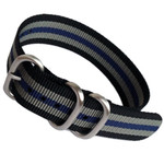 3-Ring NATO-Style Black, Grey, and Blue Stripe Nylon Strap with Matte Finish Steel Buckle #NATO3R-7-SS
