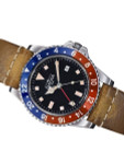 Davosa Vintage-Styled 100-Meter GMT Dual Time Watch with Black Dial #16250095