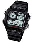 Casio Black Resin Illuminator World Timel Alarm Watch with 31 Time Zones #AE-1200WH-1AV