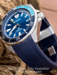 Crafter Blue 22mm Curved-End Rubber Watch Strap for Seiko Samurai #CB09-B