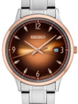 Seiko 40mm Two-Tone Quartz Watch with Ombré Brown Dial and Stainless Steel Bracelet #SGEH90