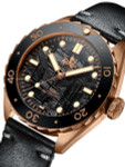 PHOIBOS Eagle Ray 500-Meter Swiss Automatic Dive Watch with Bronze Case, Black Meteorite Dial #PY018F