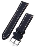 Hirsch Extra Long Liberty One Piece Black Calf Leather Watch Strap #109202-50