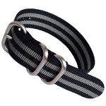 3-Ring NATO-Style Black, Grey Stripe Nylon Strap with Matte Finish Steel Buckle #NATO3R-4-SS