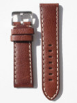 Toscana PANERAI Style Brown Italian Leather Strap with Contrasting Stitching #LBV-98280