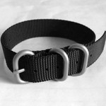3-Ring NATO-Style Black Nylon Strap with Matte Finish Steel Buckle #NATO3R-10-SS