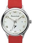 Messerschmitt White Dial Swiss Quartz Watch with Red Leather Strap #KR500-SR