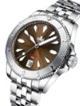PHOIBOS Brown Voyager 2.0 Automatic Dive Watch with Double Dome AR Sapphire Crystal #PY026D