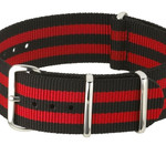 NATO-Style Black and Red Striped Nylon Strap with Stainless Steel Buckles  #NATO-8-SS