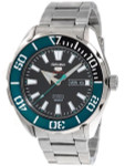 Seiko 5 Sports Automatic 24-Jewel Watch with Black Dial and SS Bracelet #SRPC53K1