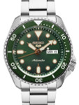 Seiko 5 Sports 24-Jewel Automatic Watch with Green Dial and SS Bracelet #SRPD63