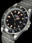 Davosa Vintage-Styled 100-Meter GMT Dual Time Watch with Black Dial #16250055