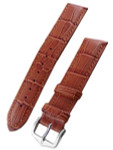 Hirsch Extra-Long Duke Brown Alligator Embossed Natural Leather Watch Strap #010282-70