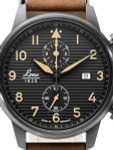 Laco Engadin Two-Eye Chronograph Watch with 42mm PVD Case and Corrugated Dial #861976