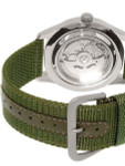 Seiko Military Dark Green Dial Automatic Watch with 42mm Case, Green Canvas Strap #SNZG09K1