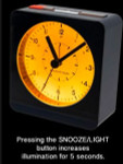 Marathon Alarm Clock with White Dial, Silent Movement, and Auto-Sensing Night Light #CL030053BL