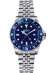 Davosa Vintage-Styled 100-Meter GMT Dual Time Watch with Bracelet #16350040