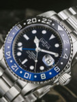"""Davosa Ternos Swiss Automatic 200 Meter GMT Dual-Time Watch with """"Batman"""" Ceramic Bezel #16157145"""