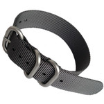3-Ring NATO-Style Grey Nylon Strap with Matte Finish Steel Buckle #NATO3R-18-SS